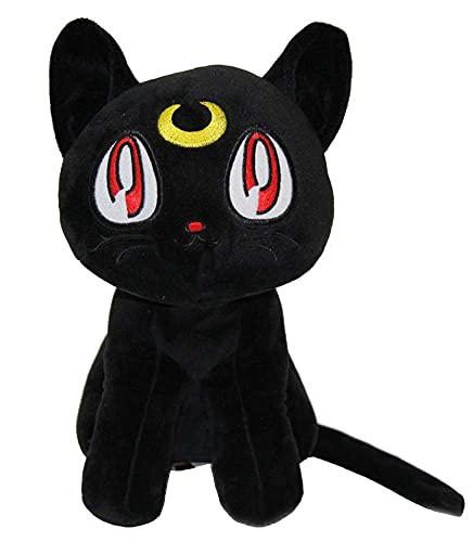 Enhopty Anime Sailor - Peluche de gato Luna (30 cm), color negro