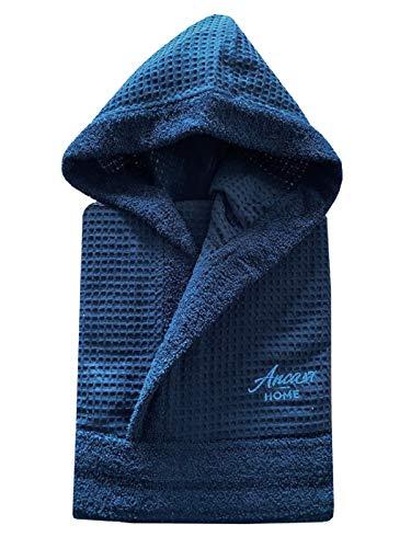 Accappatoio Nido d'Ape 100% Cotone Unisex con Cappuccio, Tasche e Cintura dalla S alla XXL Vari Colori (Blu Navy, XL)