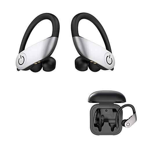 Auriculares Bluetooth inalámbricos in-ear con graves potentes, auriculares True Wireless y maletín de carga portátil para trabajar, correr o entrenar (negro)