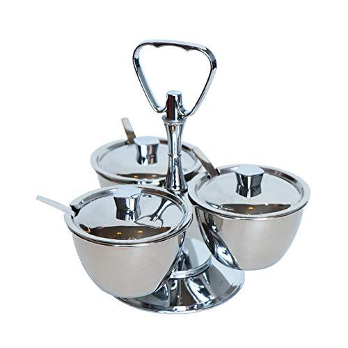NBLYW 3-potjes revitaliserende kruidenrek organizer, draaiende aanrechtblad kruiden en kruidenset kruiden doos met 3 roestvrijstalen potjes, keukenbenodigdheden