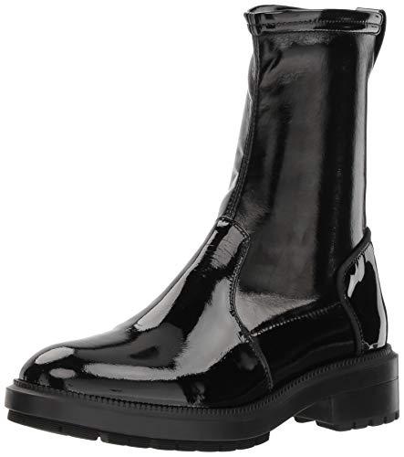 Aquatalia Women's LEODA Patent/Stretch PAT Ankle Boot, Black, 9.5 M US