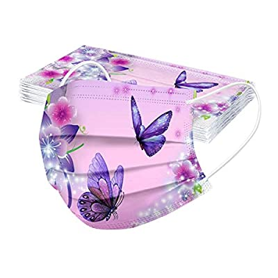 FUNEY Adult's Christmas 10PC 2021 Butterfly Print Disposable Face_mask 3 Layer Breathable Protection Face Covering by FUNEY