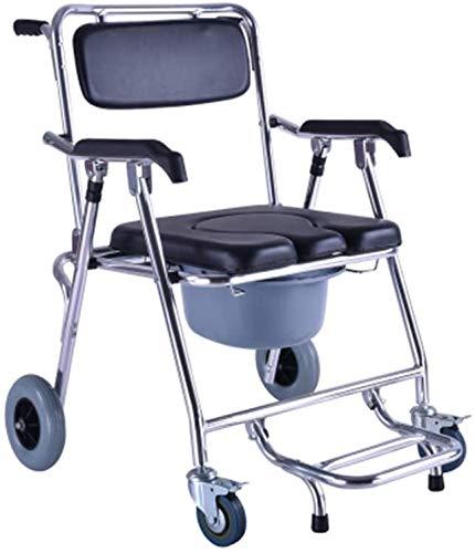 FREIHE Medische wc-rolstoel, mobiele drie-in-één commode stoel, opvouwbare stoel van aluminiumlegering, zware belasting, waterdicht kussen/rugleuning, geschikt voor patiënten, senioren, gehandicapten