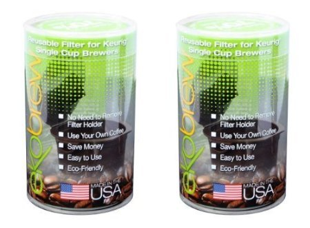 Ekobrew Refillable K-cup for Keurig 2.0 and 1.0 Brewers, Brown Canister, 2-count