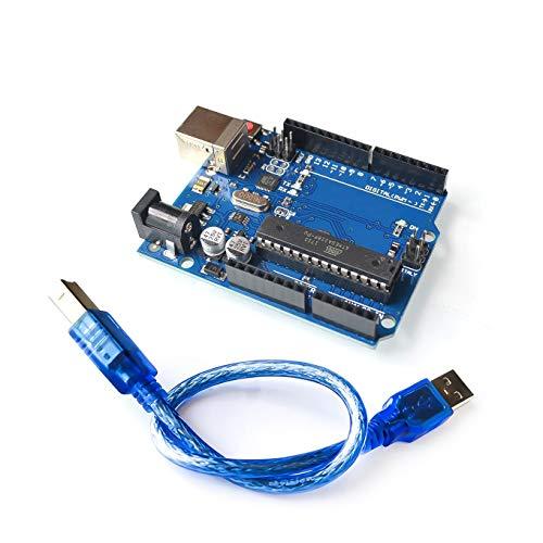 Mikrocontroller Board UNO R3 Kompatibel mit Arduino, ATmega328P ATMEGA16U2 Hauptplatine zum Unterrichten, Programmieren, DIY, inklusive USB-Kabel