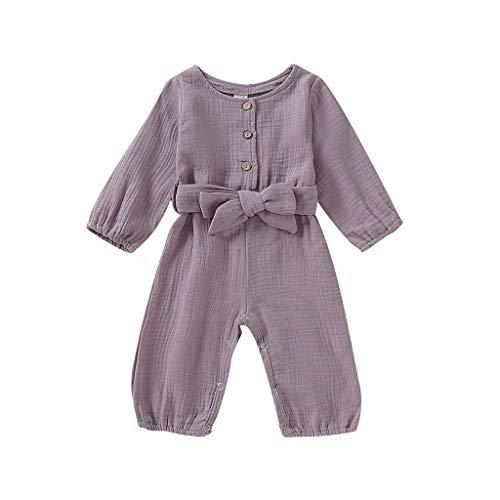 (3M-24M) Combinaison bébé Barboteuse Combinaison de Couleur Unie à Manches Longues Infantile bébé Manches Longues Volants vêtements Solides