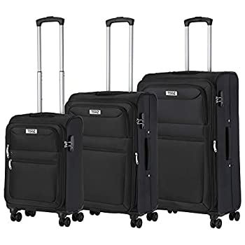 Travelz Softspinner Trois Parties Set de Valises Souple Set de bagages extensible Trolleyset noir