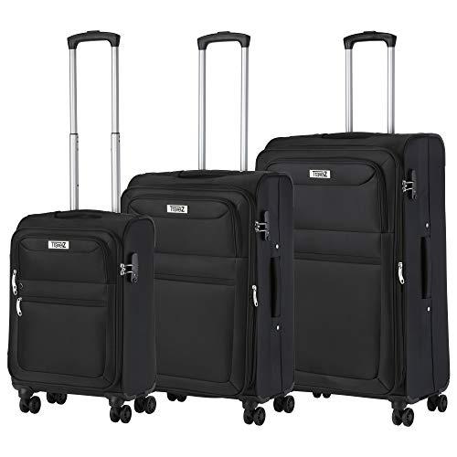 TravelZ Softspinner Gepackset - TSA Kofferset - Doppelräder (Schwarz, Set 3)