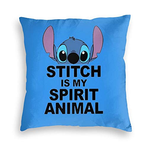 Disney Lilo and Stitch Spirit Animal Velvet Throw Pillow Covers Cozy Square Throw Pillowcases Home Decoration for Bed Couch Sofa Living Room Cushion Case 18'X18'