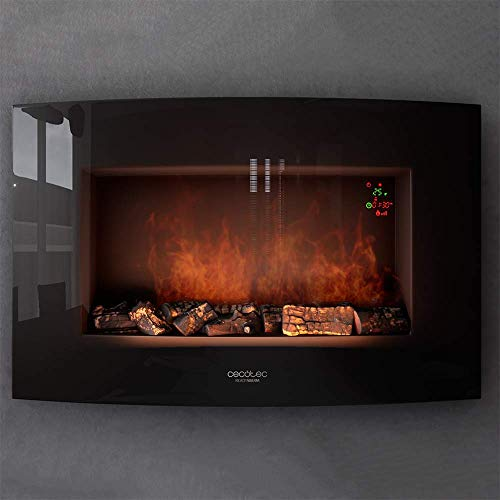 """Cecotec Chimenea eléctrica Ready Warm 3500 Curved Flames.Potencia máxima 2000W, tamaño 35"""", 2 niveles de potencia,area cobertura 30m2, panel curvo templado, llama ajustable, temporizador semanal"""
