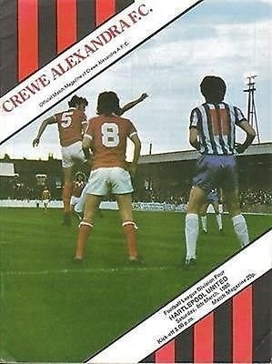 Crewe Alexandra Hartlepool United 08/03/80 GRESTY Road football programme