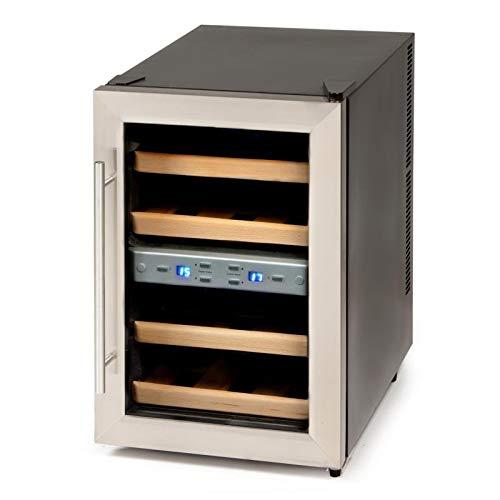 Wein-Klimaschrank für 1 Liter Flaschen mit Glastür, Display mit Temperaturanzeige + zum optimalen einstellen der richtigen Temperatur, Weinkühlschrank für 12 Flaschen, schwarz