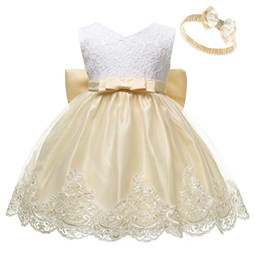 Prinzessin Kleid + Headband Set Baby Mädchen Hochzeitskleid Partykleid Spitze Bowknot Brautjungfernkleid Abendkleider Festlich Wedding Formal Tutu Dress Cocktailkleider, Gelb, 0-3 Monate