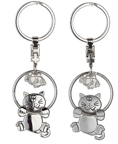 Metall Schlüsselanhänger Katze mit Fisch 11,5x4cm Geschenk Silber/Silber matt