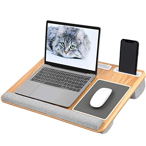 HUANUO Laptop Tray with Cushion, Built in Mouse Pad & Wrist Pad for Notebook up to 17' with Tablet, Pen & Phone Holder