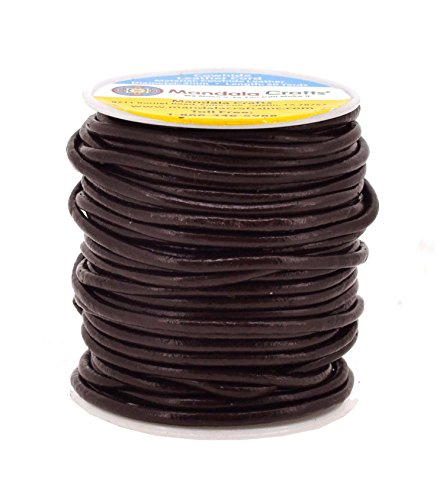 Mandala Crafts Round Cowhide Genuine Leather String Cord, Natural Rawhide Rope...