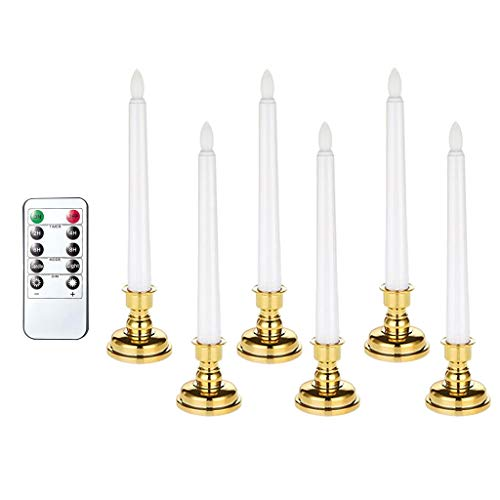 Baoblaze Christmas Window Candle Lights with Remote Control, Battery Operated Electric LED Taper Candles Flameless for Home Dinner Party - White, 6pcs