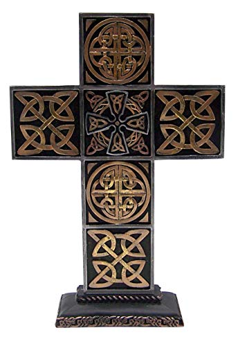 Intricately Designed Bronze-Toned Celtic Cross, Freestanding Figurine, 13 Inches