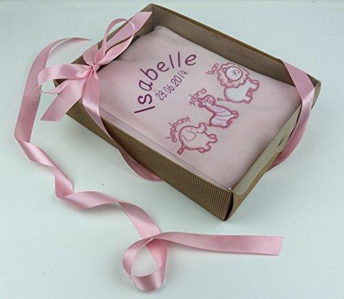 """Personalisierbare Luxus-Babydecke """"Animals"""" in pink, in Geschenkbox mit pinker Satin-Schleife und Geschenkanhänger, großartiges und wundervoll präsentiertes Baby-Geschenk"""