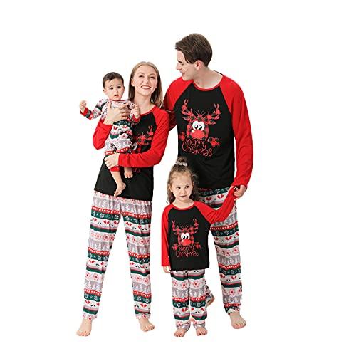 Weihnachtsanzug Familie Christmas Rentier Elch Familie Weihnachten Passende Outfits Patchwork Pyjama Weihnachten Schlafanzug Weihnachtspullover Lustig Homewear 2Pcs Familie Eltern Kind Kinder