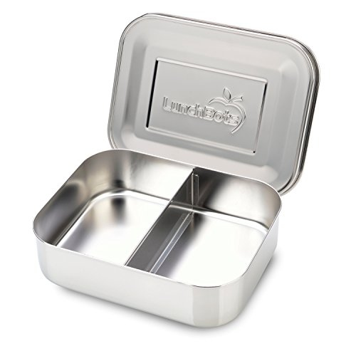 LunchBots Duo Edelstahl Nahrungsmittelbehälter – Zwei Abschnitt Design perfekt für eine Sandwich Hälfte und Einer Beilage – Umweltfreundlich, Spülmaschinenfest und BPA frei – Komplett Aus Edelstahl