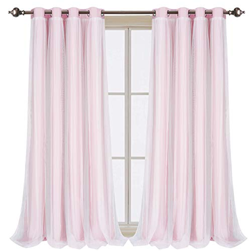 VERTKREA Solid Blackout and Sheer Window Curtain, Pink Room Darkening Grommet Curtains with Lace Voile, Double Layers Thermal Insulated Curtain, Layered Drapes for Girls Women Nursery 52 x 84 Inches