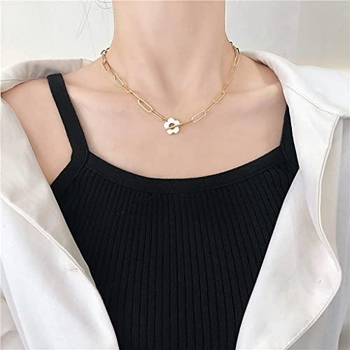 KONZFP Collar Collar de Cadena Cuadrada con Broche de Flores para Mujer Collar de Gargantilla de Cadena de clavícula