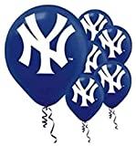 amscan New York Yankees Major League Baseball Collection Printed Latex Balloons, Party Decoration,Blue/White,6 pieces