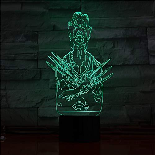TYWFIOAV Luz de Noche 3D de Dibujos Animados, Personaje Fresco Wolverine X, Bombilla LED Multicolor para niños, Lampara AA, Pilas, Regalos para el Nacimiento de un niño