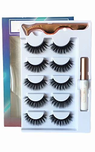 3D Fake Eyelashes With Glue Thick Full False Eyelashes With Glue 5 Pairs Reusable Cruelty-Free False Lashes Ruairie