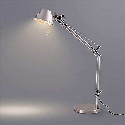 Modeen Glanz Silber Tageslicht Energie sparen Lesung Task Schreibtisch Tischlampe Swing Arm Schreibtisch Lampen, Aluminium Tischleuchte, Regular E27 Sized Einstellbare Architekt Schreibtisch Lichter