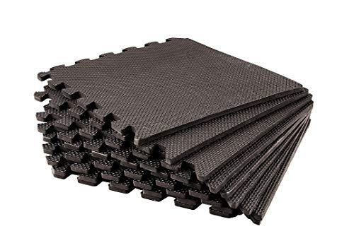 BigDean 9er Pack Eva Puzzlematten a 40 x 40 x 1 cm Unterlegmatte Spielmatte Lärmschutzmatte Boden-Matte + Seitenränder schwarz