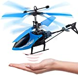 Remote Control Helicopter Flying Toys, Mini Led Rechargeable Hand Operated Drone with LED Light for Kids, Boys Girls Indoor Outdoor Games(Blue)