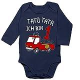 Shirtracer Geburtstag Baby - Tatü Tata ich Bin 1 Feuerwehrauto - 12/18 Monate - Navy Blau - Feuerwehr Baby Strampler - BZ30 - Baby Body Langarm
