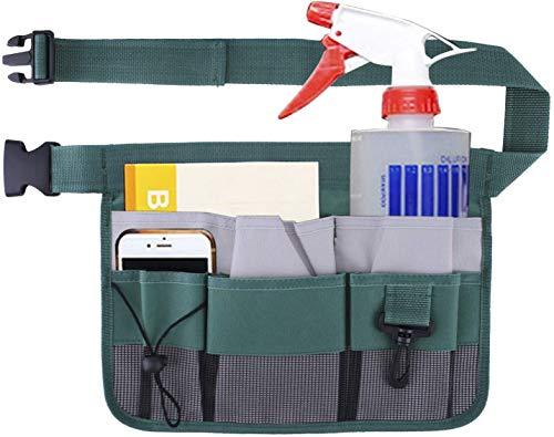 QEES Cinturón de herramientas de jardinería con tira reflectante Oxford 600D ajustable con cinturón de cintura para hombre/mujer, bolsa de limpieza de herramientas verde para el hogar