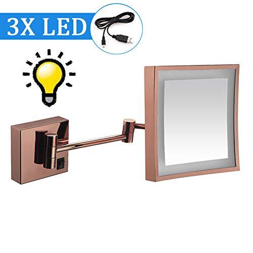 Koimg 8 Pouces One Face LED Miroirs De Maquillage,Miroir Grossissant Mural Lumineux X3,miroirs De Courtoisie Maquillage Miroirs Cosmétiques Muraux,pivotant,Extensible,alimenté Piles,E