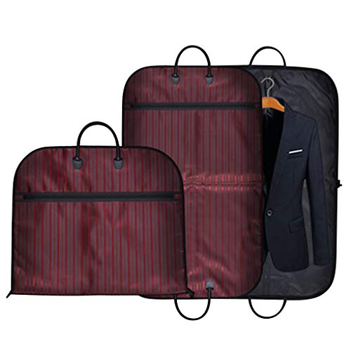 Kleidersack Anzugtasche, Anzughülle Kleiderhülle Anzugsack Streifen Hochwertig für Anzug und Kleid zum Reisen, 100cm x 60cm(Rot)