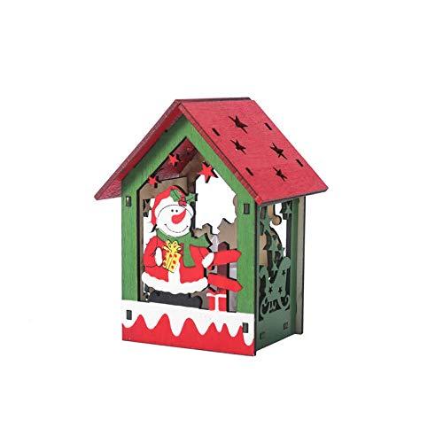 ZXXFR Kerstmis decoratieve hanger, sneeuwpop stijl LED lampen houten huis vakantiehuis kerstboom hangers ornament decoratie Xmas party hangende decoratie geschenk