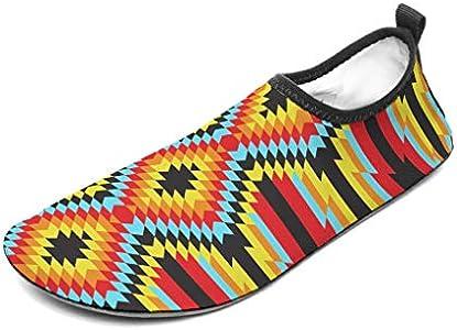 Wraill – Zapatillas de playa, zapatos de agua, calcetines, Egipto, India, Maya Patrón, ligeras, para mar, playa, natación, surf, blanco, 46/47