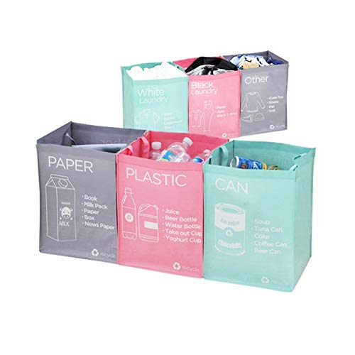 Ribens Recycle Bag Separate Recycle Bin Wasserdichte Abfallkörbe Fach Container Separate Recycling Mülleimer Mehrzwecktrenner Box Set Front Recycle Separate Rückseite Wäsche Separate