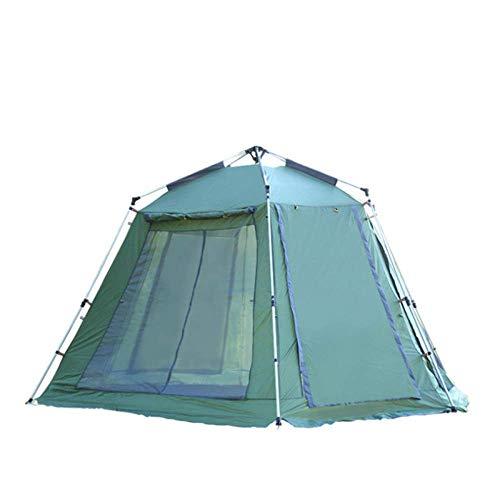 Hexagon Camping strandtent, automatische campingtent, Instant Pop Up Shelter, grote maat voor 5-8 personen, waterdichte anti-uv-familietent, groen