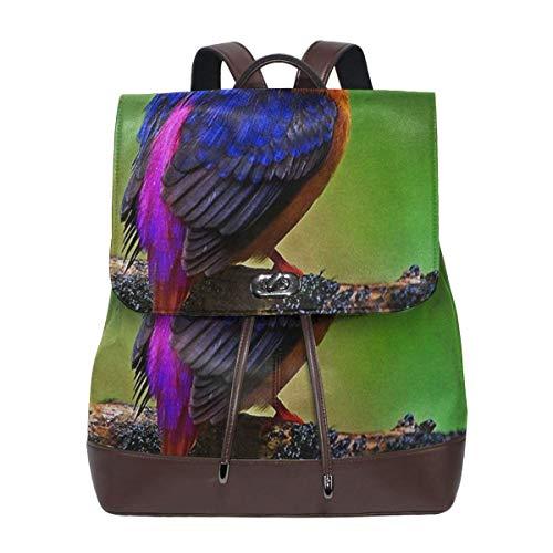 SGSKJ Rucksack Damen Orientalischer Zwergeisvogel, Leder Rucksack Damen 13 Inch Laptop Rucksack Frauen Leder Schultasche Casual Daypack Schulrucksäcke Tasche Schulranzen