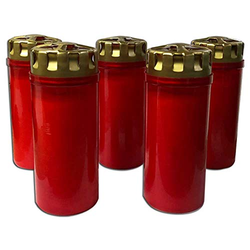 F.A.Dumont 3 or 4 Day Grave Lights Pk 5 - Red or White with Gold Lid (Red, 4 day)