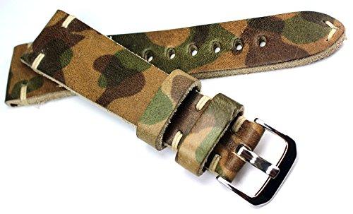 22mm RIOS1931 Deutsch Handarbeit Lederband Weiße Naht 22/18mm Retro Look Camouflage Tarnfarbe