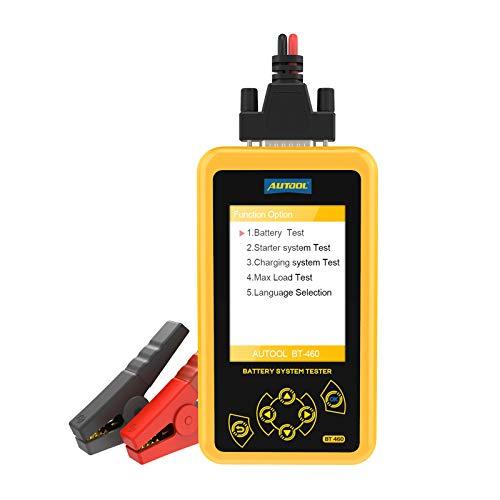 Autool BT-460 - Tester diagnostico dello stato della batteria / avviamento e ricarica, per tutte le auto, 12V/24V - 100-2400 CCA , con ampio display a colori