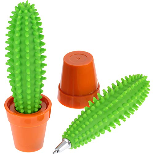 Mtlee 2 Packs Creative Cactus Pen Ballpoint Pen Blue Ink Pens Silly Gifts Office School Supplies