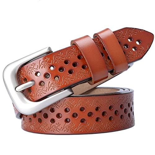 SLATIOM Cinturón de Llorar de la Vaca de Las señoras sin taladrar Pantalones Vaqueros Correas Femeninas Top Straps Hollow (Color : Orange, Size : 100 cm)