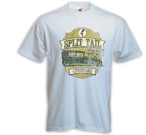 Hot Rod T-Shirt Split Tail Vintage weiß US Car Rockabilly Tattoo Pinup Zündkerze Gr. XXXL