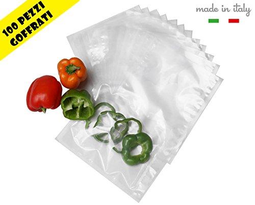 OLIMPIC Sacchetti Sottovuoto Goffrati 100 PZ 25x35 CERTIFICATI Food Test Made in Italy Professional per la Conservazione Sottovuoto - per Macchine ad Estrazione Esterna