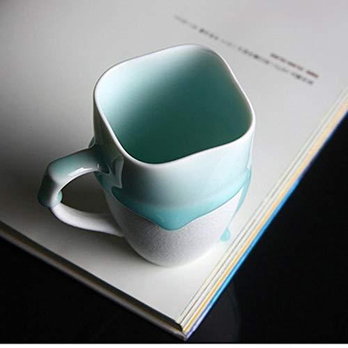 RHWZM Tazza Boccale Mug Tazzine Tazza di Smalto Blu Ceramico Creativo Tazze di Porcellana Rotonde/Irregolari Tazze di Latte caffè Bianco/Marrone, 200 Ml Quadrati Bianchi